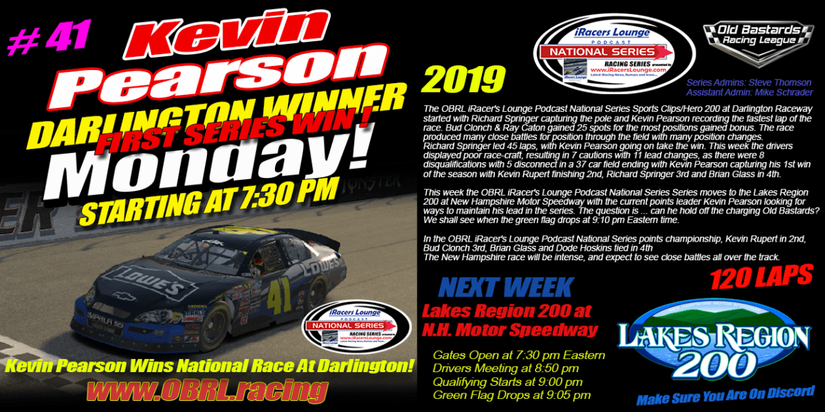 ARCA Professional Race Car Driver Kevin Pearson #41 Wins iRacers Lounge National Series Race At Darlington Raceway!