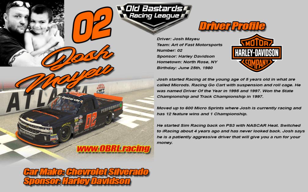 Josh Mayeu #02 - iRacing Nascar Driver No.02 Harley Davidson - iRacing Leagues