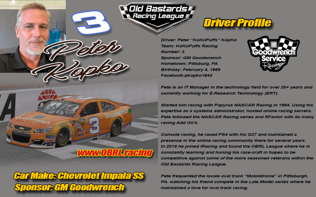 Peter Kopko #3 - Nascar Metro Ford Cup Stock Car Driver - GM Goodwrench