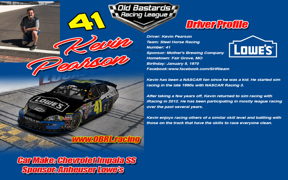 Kevin Pearson Professional ARCA Driver of the Chevrolet #41 Lowes K&N Pro Stock Car