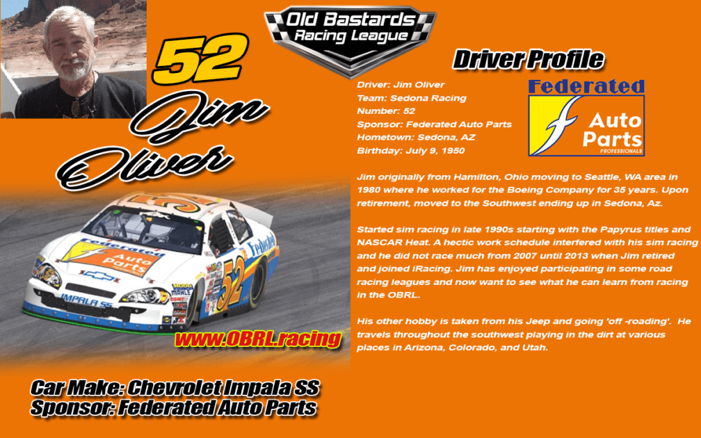 Jim Oliver Driver of the #52 Race Car in the eNascar Monster Cup Series, eNascar Xfinity Series, eNascar Gander Outdoor Truck Series.eNascar iRacing League