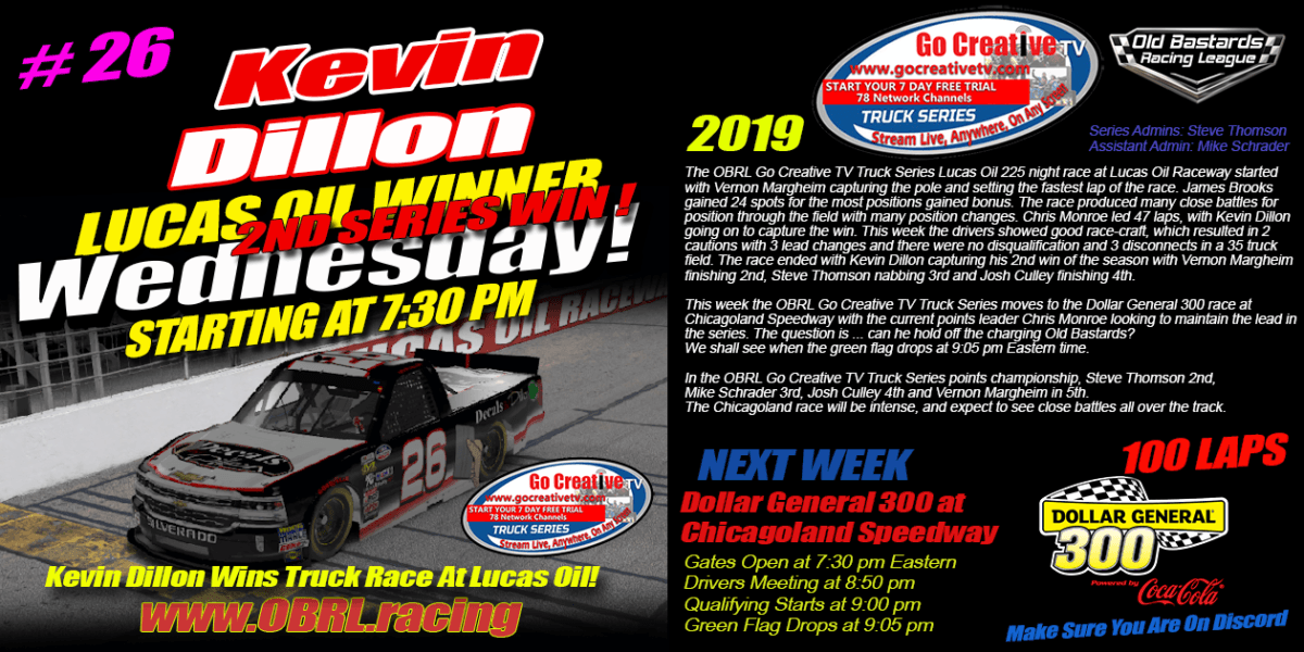 Kevin Dillon #26 Wins eNascar Go Creative Streaming TV Truck Series Race at Lucas Oil Raceway
