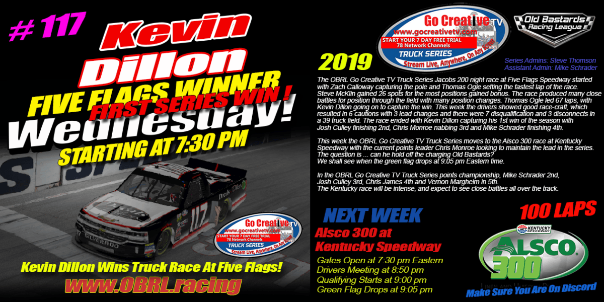 Kevin Dillon Wins Go Creative Streaming TV Truck Series Race at Five Flags Speedway