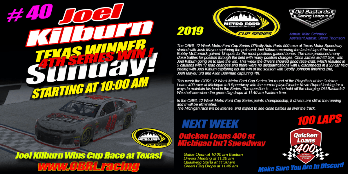 Joel Kilburn #40 Coors Light Wins eNascar eSports Metro Ford Cup Race at Texas Motor Speedway!