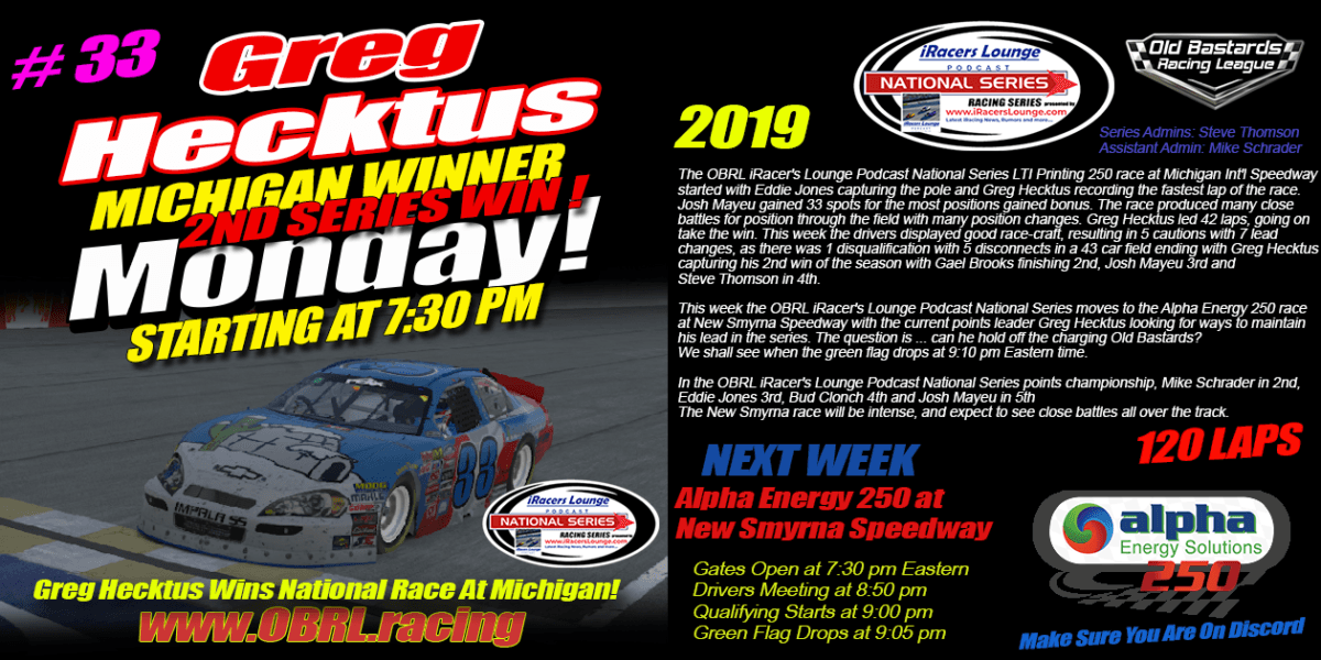 Gregory Hecktus #33 Wins eNascar iRacers Lounge Podcast National Series Race at MIS!