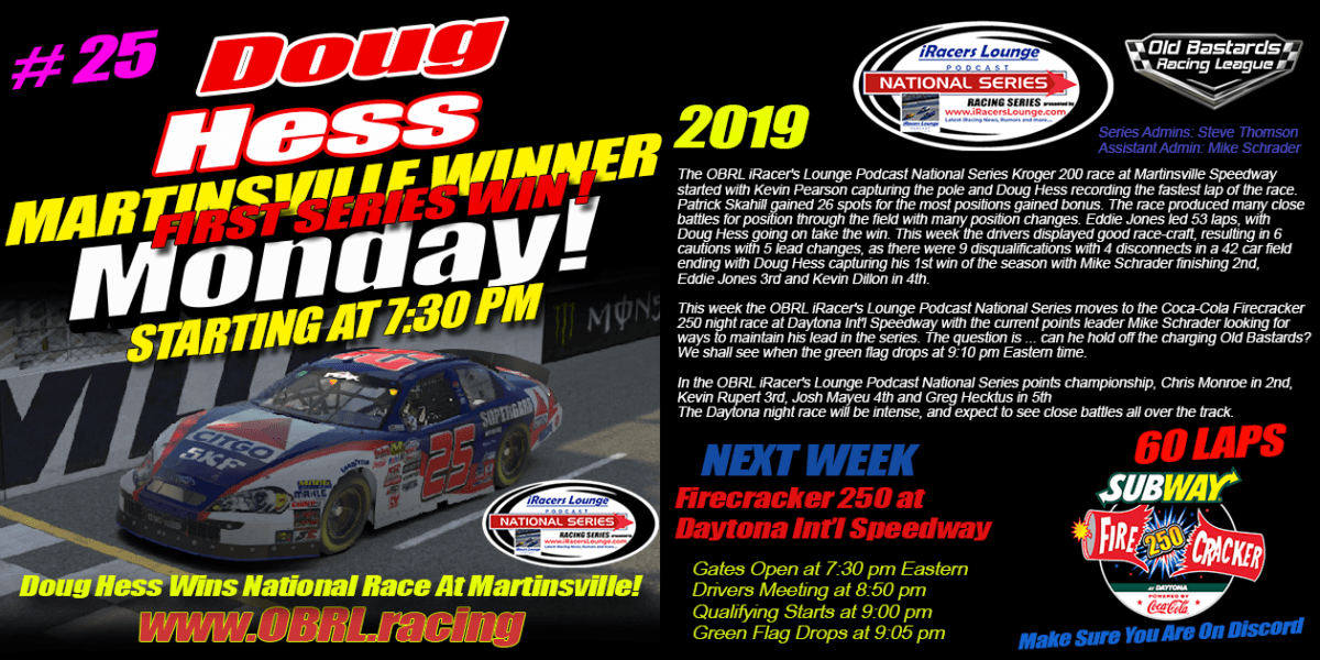 Douglas Hess #25 Wins Nascar iRacers Lounge National Series Race At Martinsville