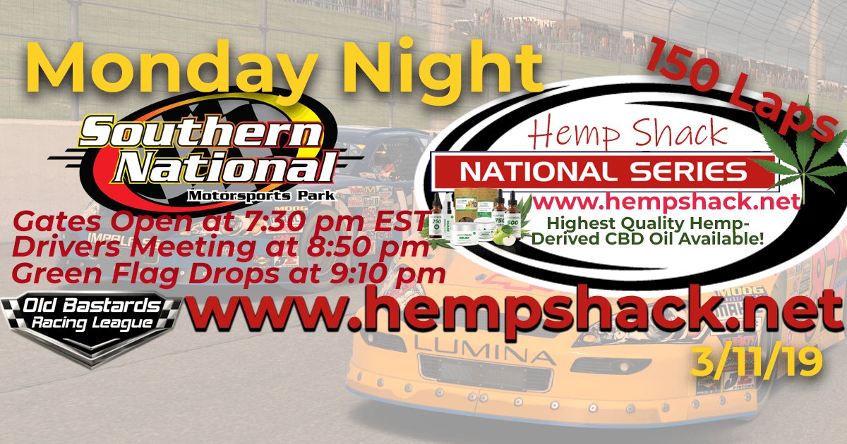 Nascar Hemp Shack CBD Hemp Oil National Series Race at Southern National Motor Park! iRacing K&N Pro ARCA League - Hemp Shack - Highest Quality Hemp-Derived CBD Oil Available!