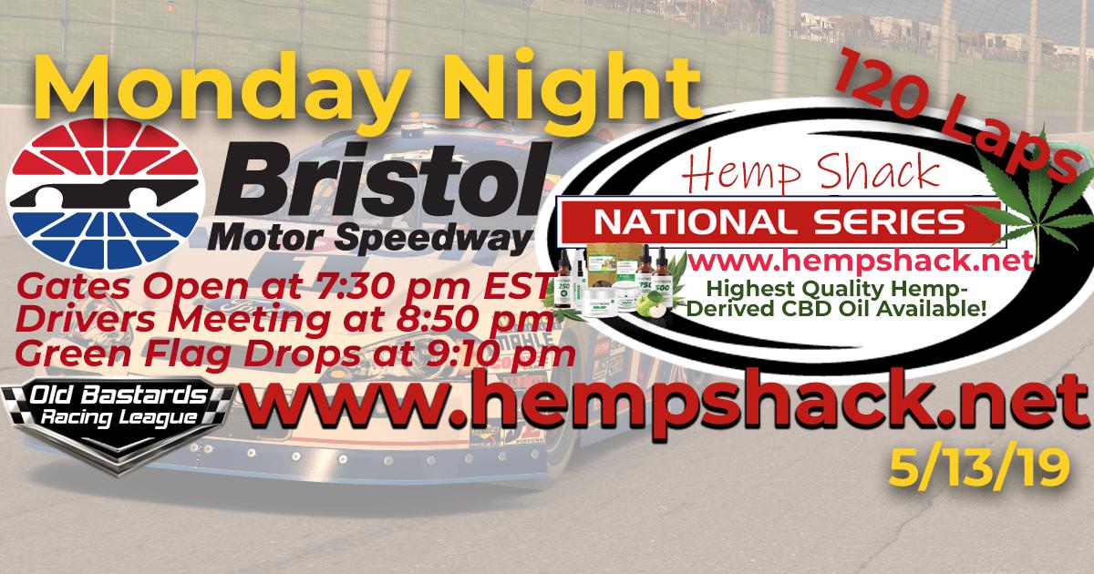 Nascar iRacing Hemp Shack National Series Race at Bristol Motor Speedway
