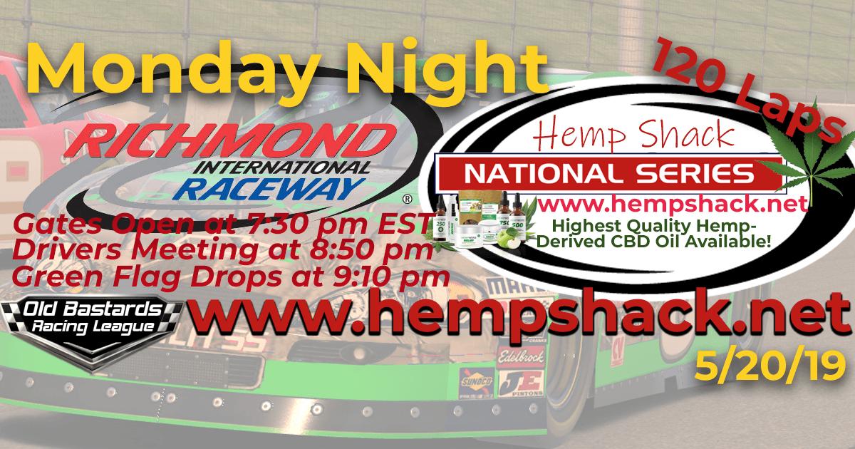 Nascar Hemp Shack National Series Race at Richmond Raceway Monday Night Nascar iRacing K&N Pro League - Hemp Shack - Highest Quality Hemp-Derived CBD Oil Available!
