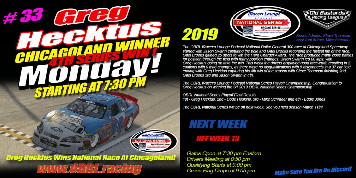 Greg Hecktus Wins Both Race and Championship in the iRacers Lounge National Series Race at Chicagoland