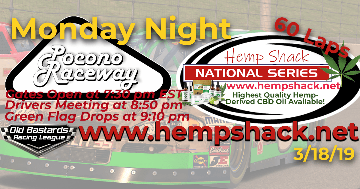 Nascar Hemp Shack CBD Oil National Series Race at Pocono Raceway! iRacing K&N Pro ARCA League - Hemp Shack - Highest Quality Hemp-Derived CBD Oil Available!