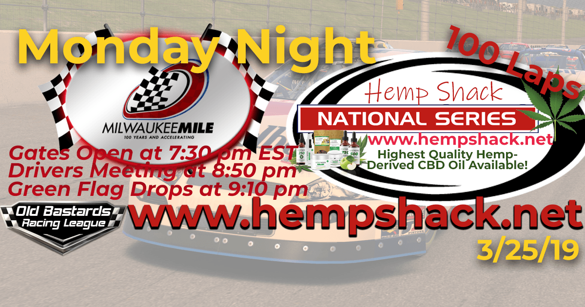 Nascar Cannabis Oil National Series Race at The Milwaukee Mile! iRacing K&N Pro ARCA League - Hemp Shack - Highest Quality Hemp-Derived CBD Oil Available!
