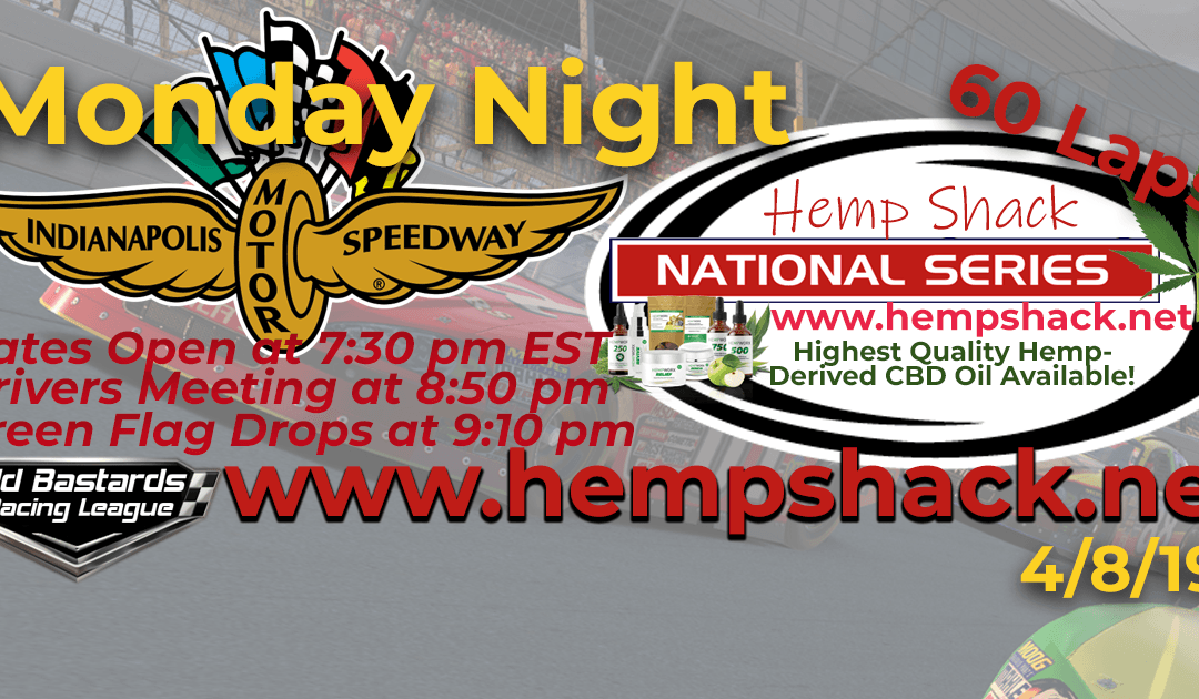 "🏁WINNER: Kevin ""Suarez"" Pearson #41! Week #5 Nascar Hemp CBD Oil National Series Race at Indianapolis Motor Speedway – 4/8/19 Monday Nights"