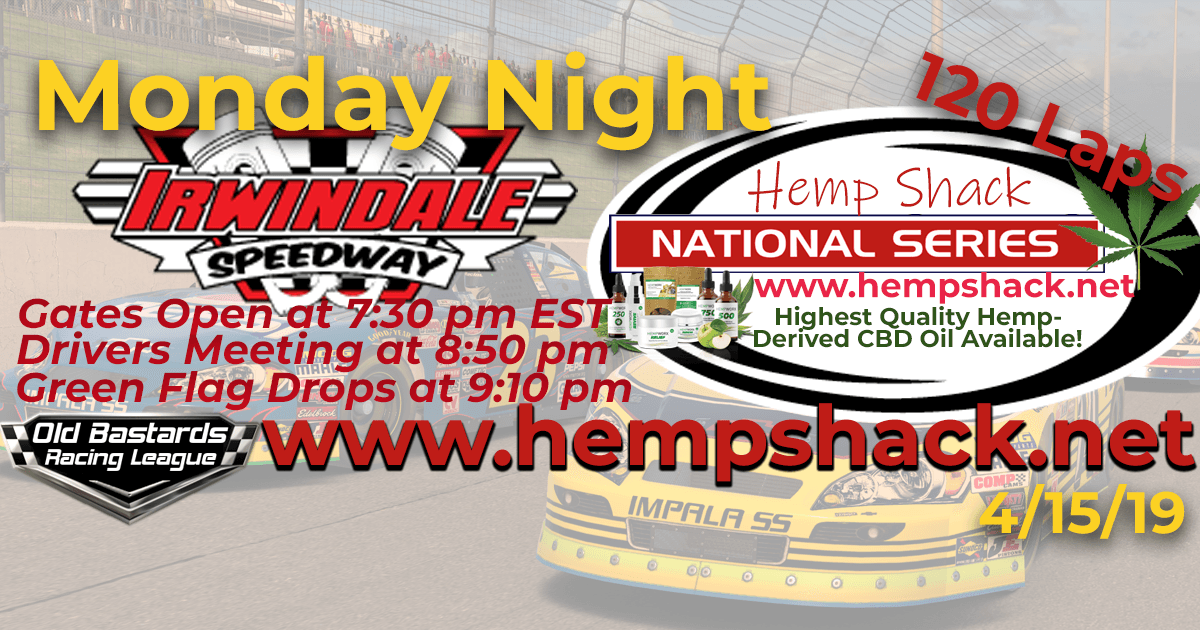 Nascar CBD Oil National Series Race at Irwindale Speedway. Monday Night Nascar iRacing K&N Pro League - Hemp Shack - Highest Quality Hemp-Derived CBD Oil Available!