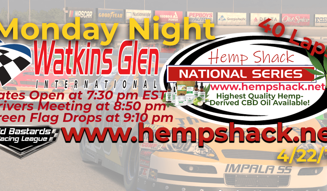 🏁WINNER: Ed Larson Adams #42! Week #7 Nascar Hemp Shack National Series Race at Watkins Glen International- 4/22/19 Monday Nights