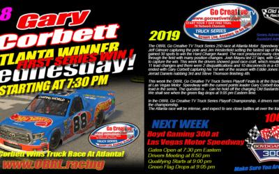Gary Corbett Wins eNascar eSports Go Creative Streaming TV Truck Series Race at Atlanta!