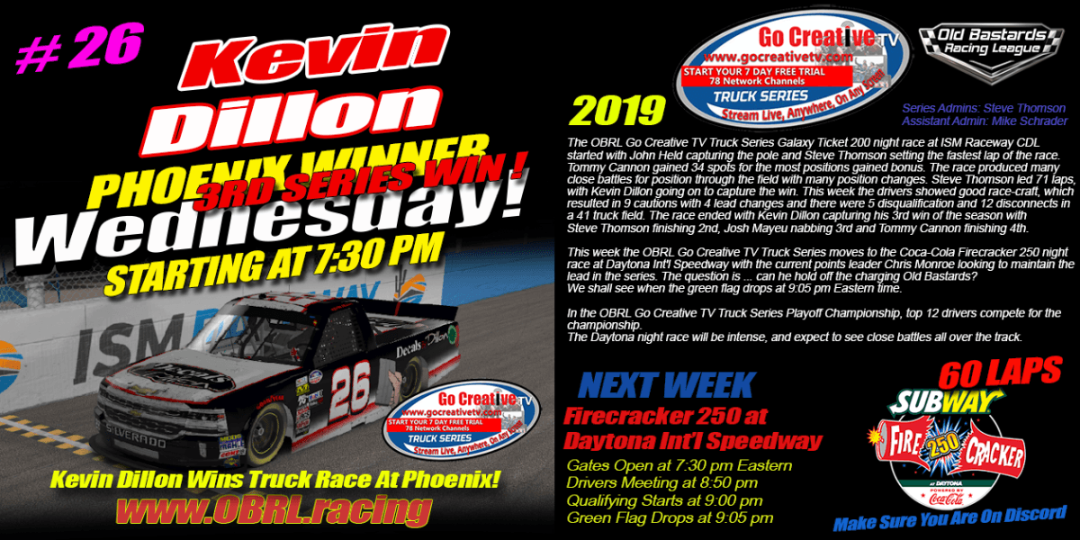 Kevin Dillon #26 Decals by Dillon Wins eNascar Go Creative Streaming TV Truck Series Race at ISM!