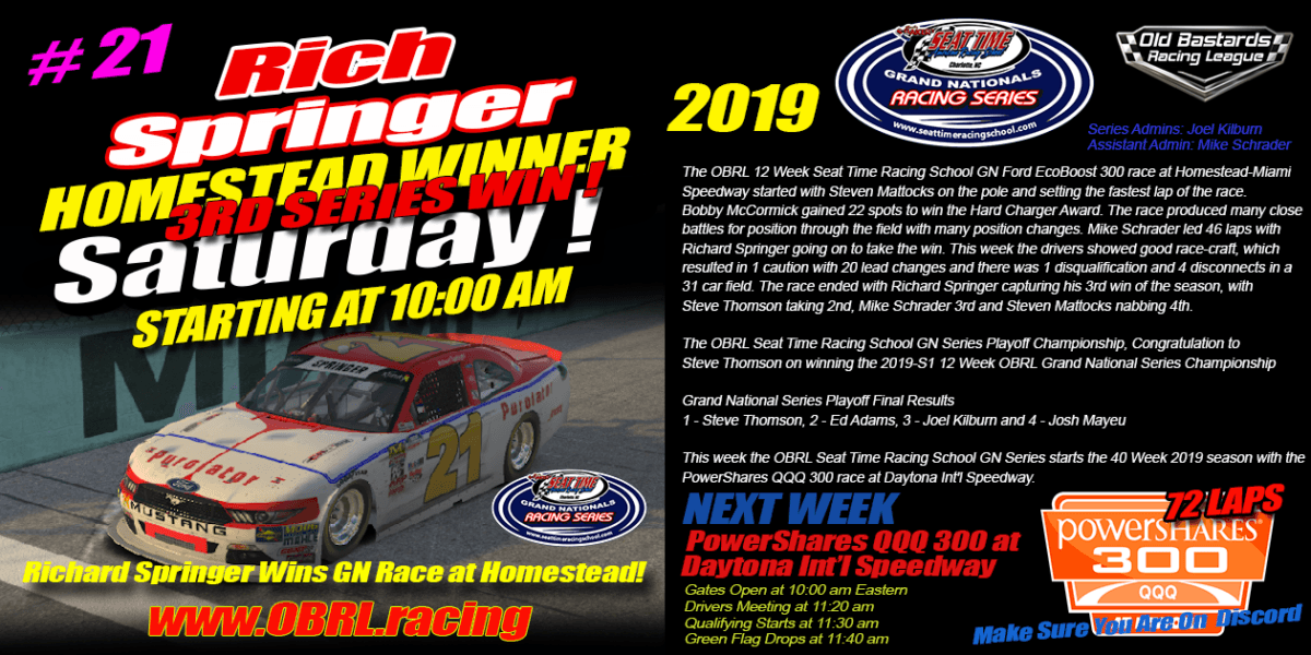 Richard Springer #21 Wins eNascar eSports Seat Time Racing School Grand National Race at Homestead!