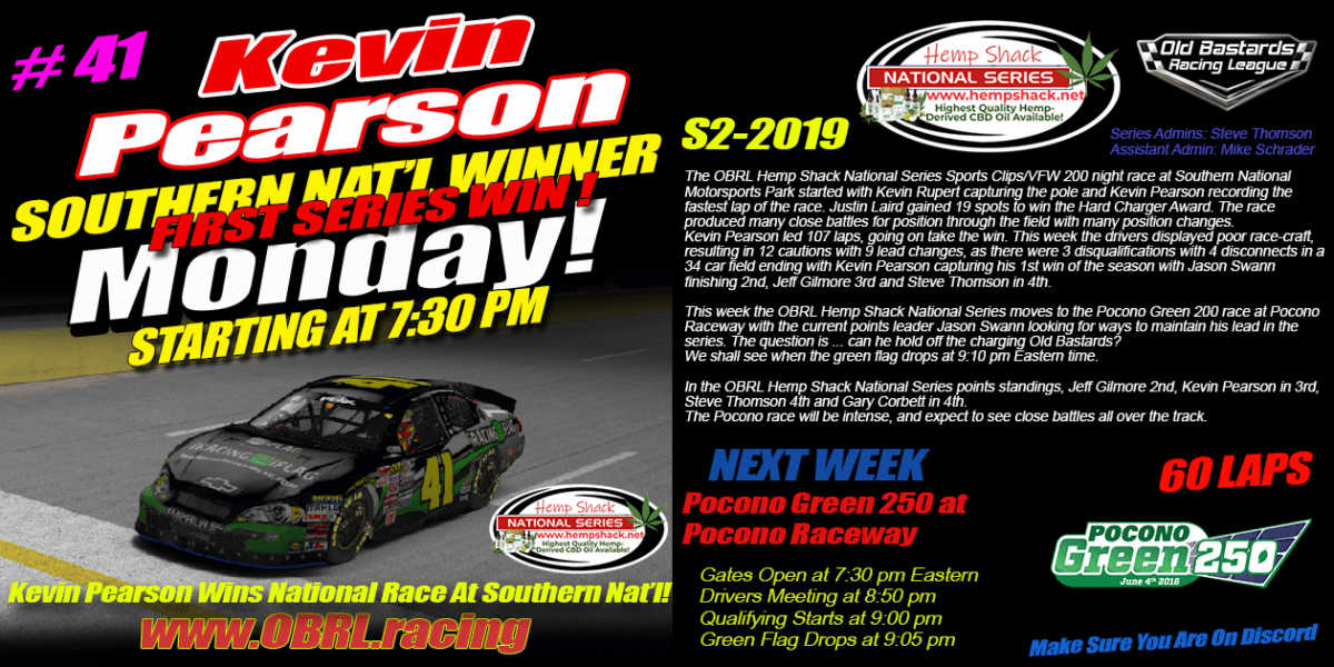 Kevin Pearson #41 Wins the Hemp Shack Nascar National Series Race at Southern National