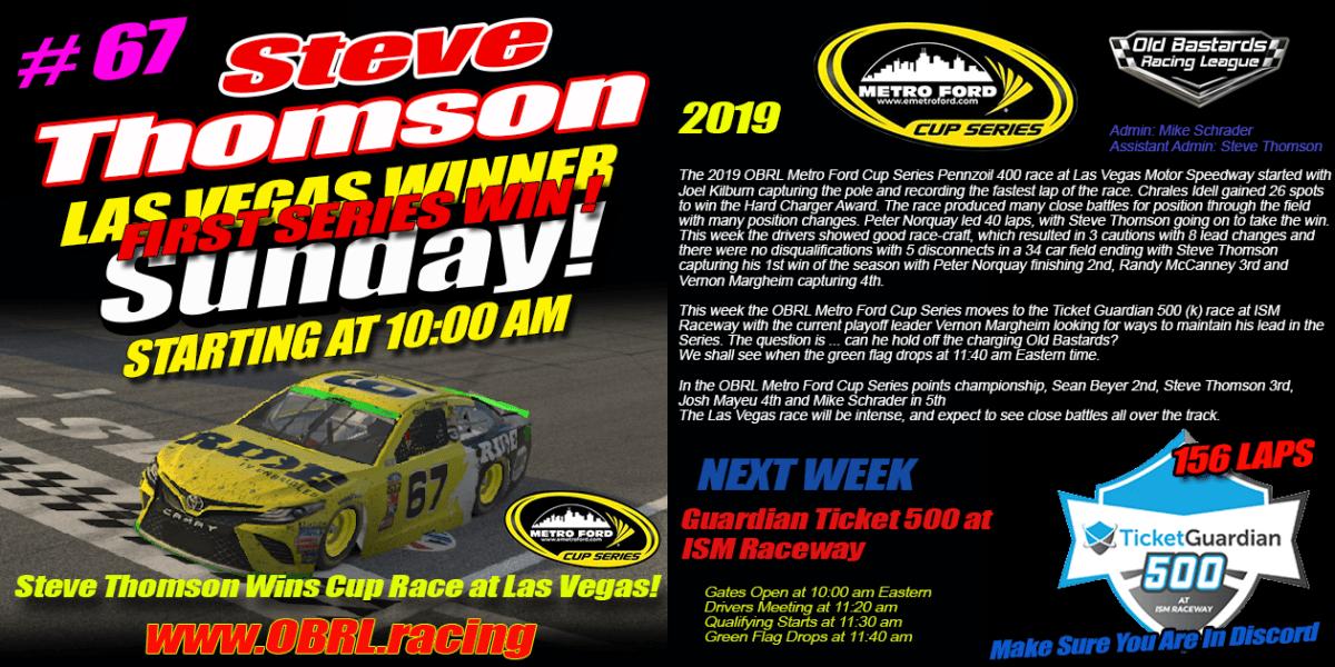 Steve Thomson #67 RideTV Wins Nascar Metro Ford Cup at Las Vegas Motor Speedway!