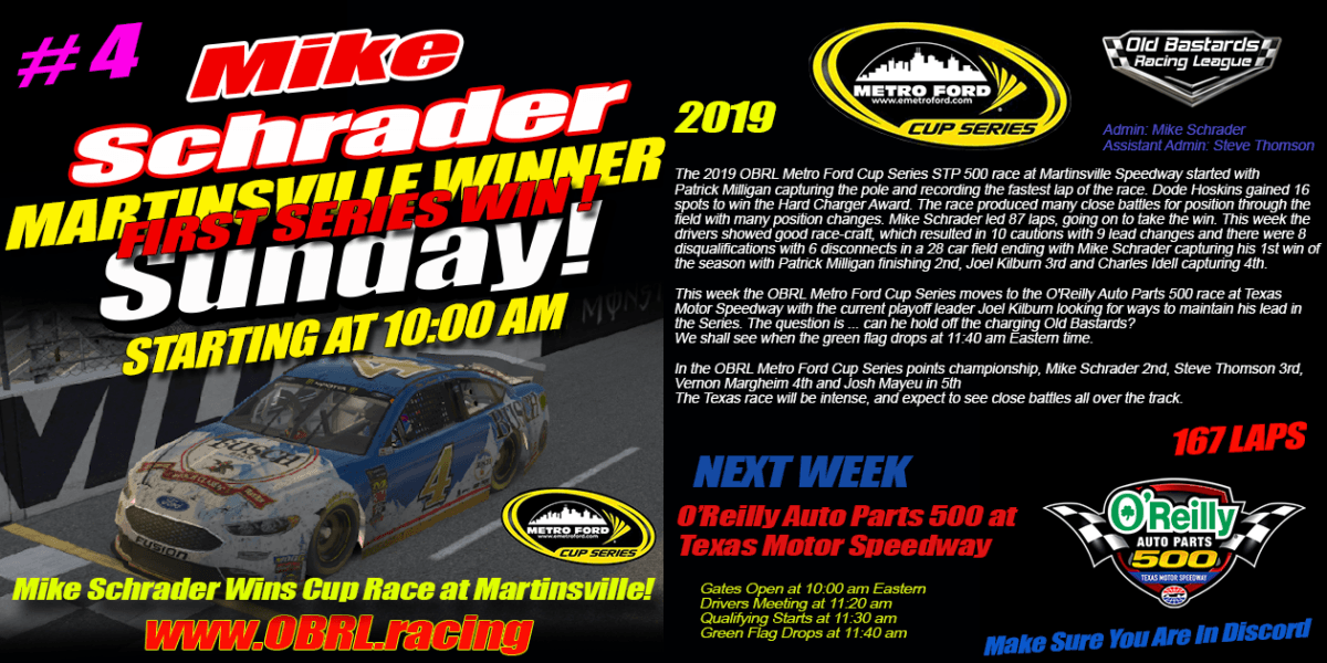Mike Schrader #4 Wins Nascar iRacing Senior Tour Metro Ford Cup Race at Martinsville Speedway!