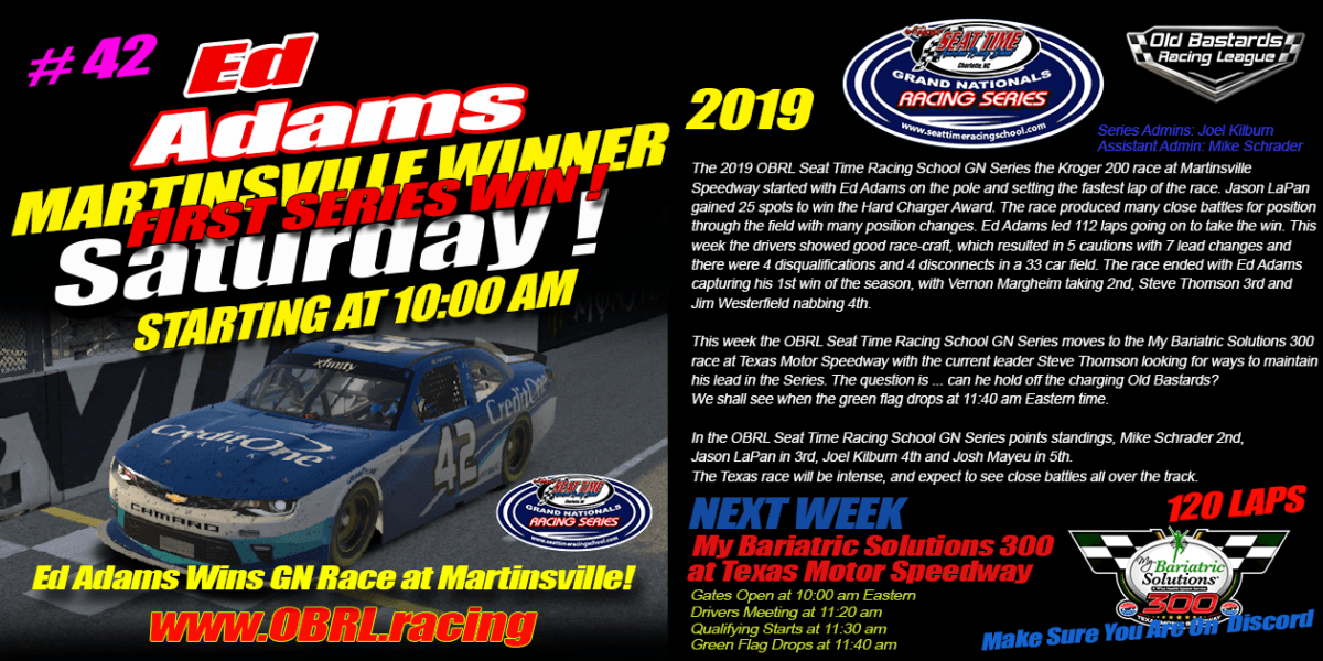 Ed Adams Wins Nascar Seat Time Racing School Grand National Senior Tour Race at Martinsville!