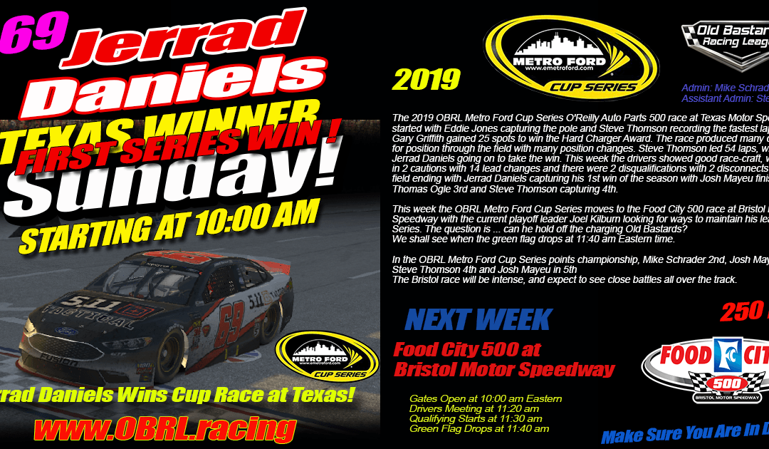 🏁Jerrad Daniels #69 Wins Nascar iRacing Senior Tour Metro Ford Cup Race at Texas Motor Speedway!