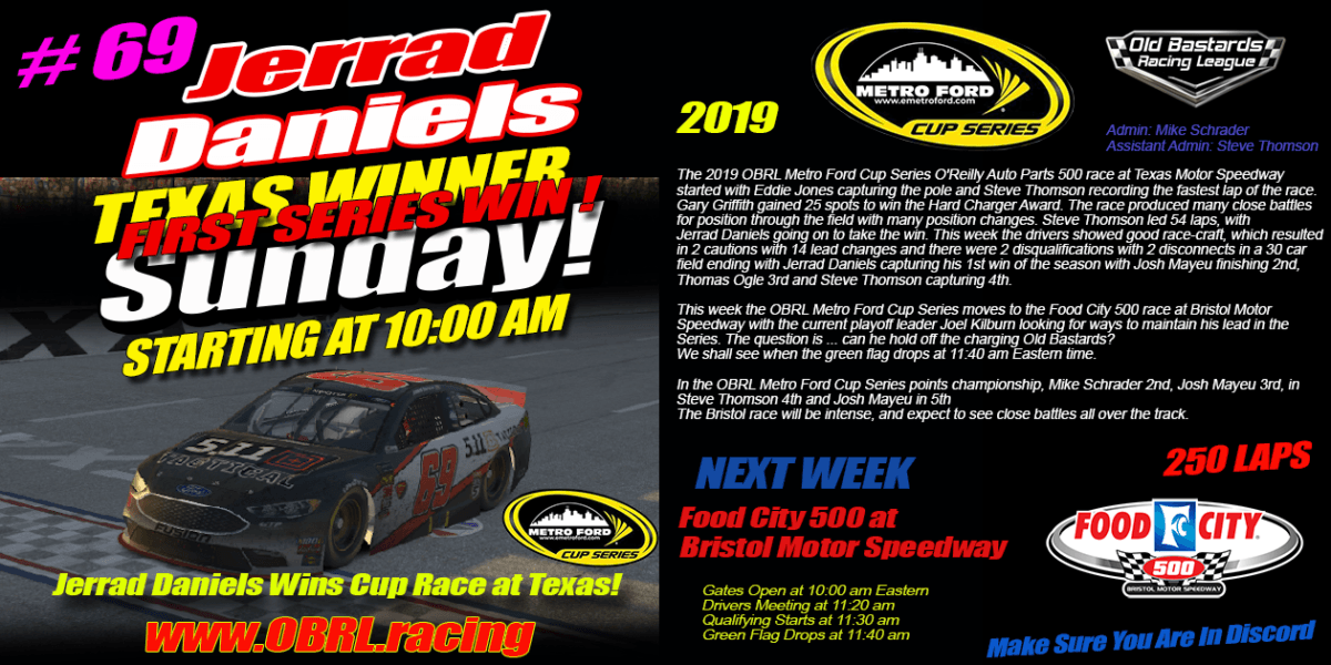 Jerrad Daniels #69 Wins Nascar iRacing Senior Tour Metro Ford Cup Race at Texas Motor Speedway!