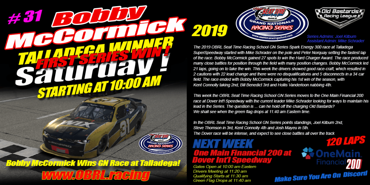 Bobby McCormick Wins Nascar Senior Tour Seat Time Racing School Race at Talladega!