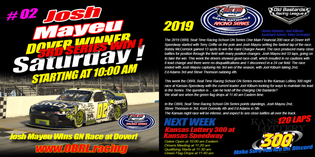 Josh Mayeu Wins Nascar Senior Tour Seat Time Racing School Race at Dover!