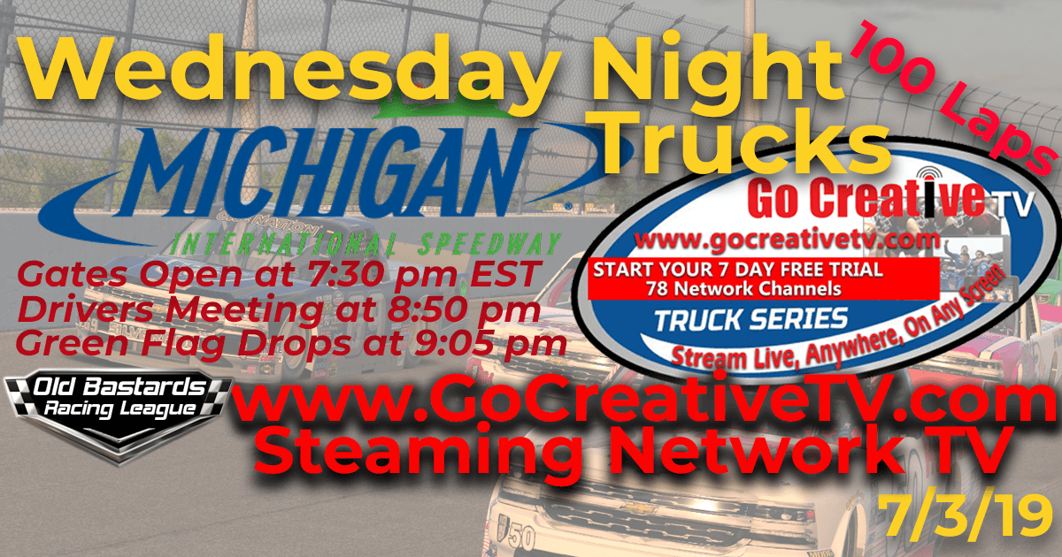 NBCSN Nascar Go Creative Streaming TV Truck Series Race at Michigan Int'l Speedway