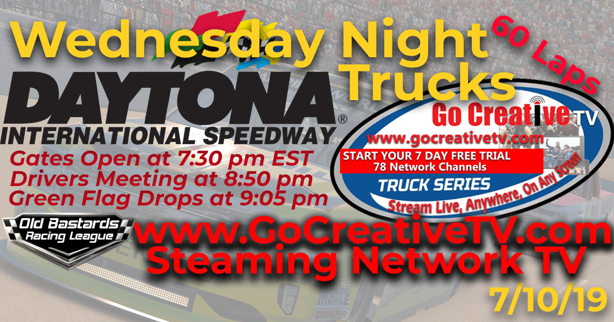 NBC Sports Nascar Go Creative Streaming TV Truck Series Race at Daytona Int'l Speedway