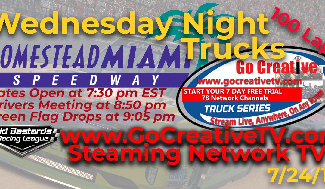 🏁WINNER: Dave Hunt #53! Week #7 Fox Nascar Go Creative Streaming TV Truck Series Race at Homestead – Miami Speedway – 7/24/19 Wednesday Nights