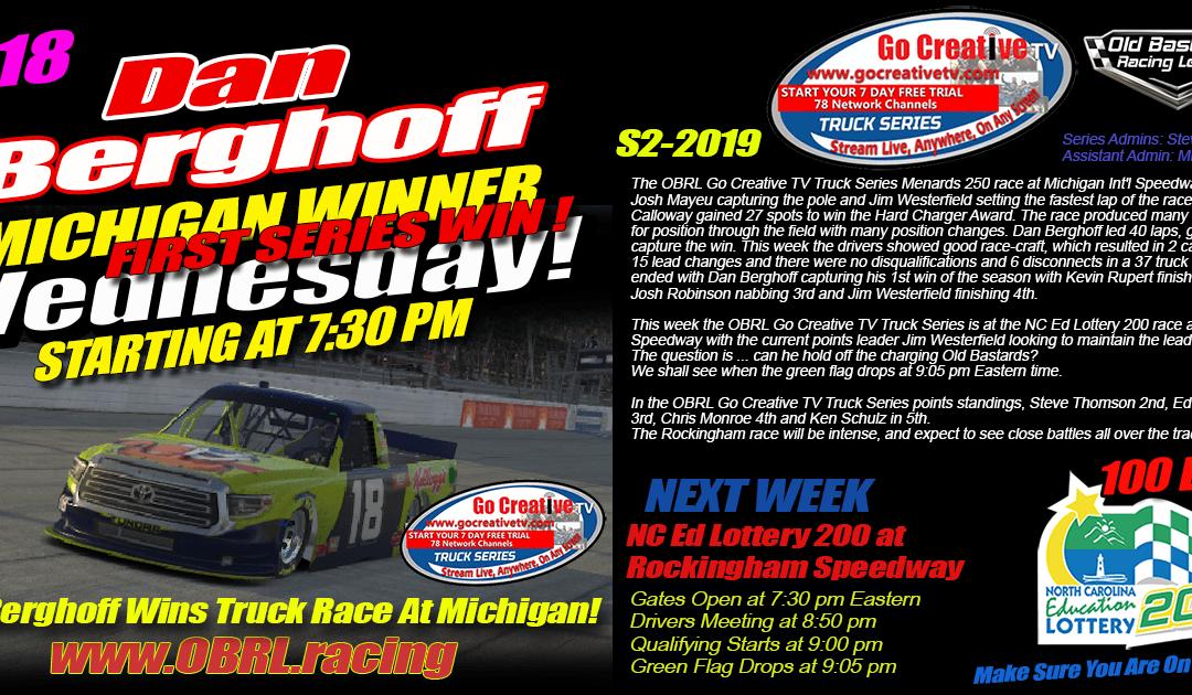 🏁Dan Berghoff #18 Wins Nascar Senior Tour Go Creative TV Truck Series Race at Michigan!