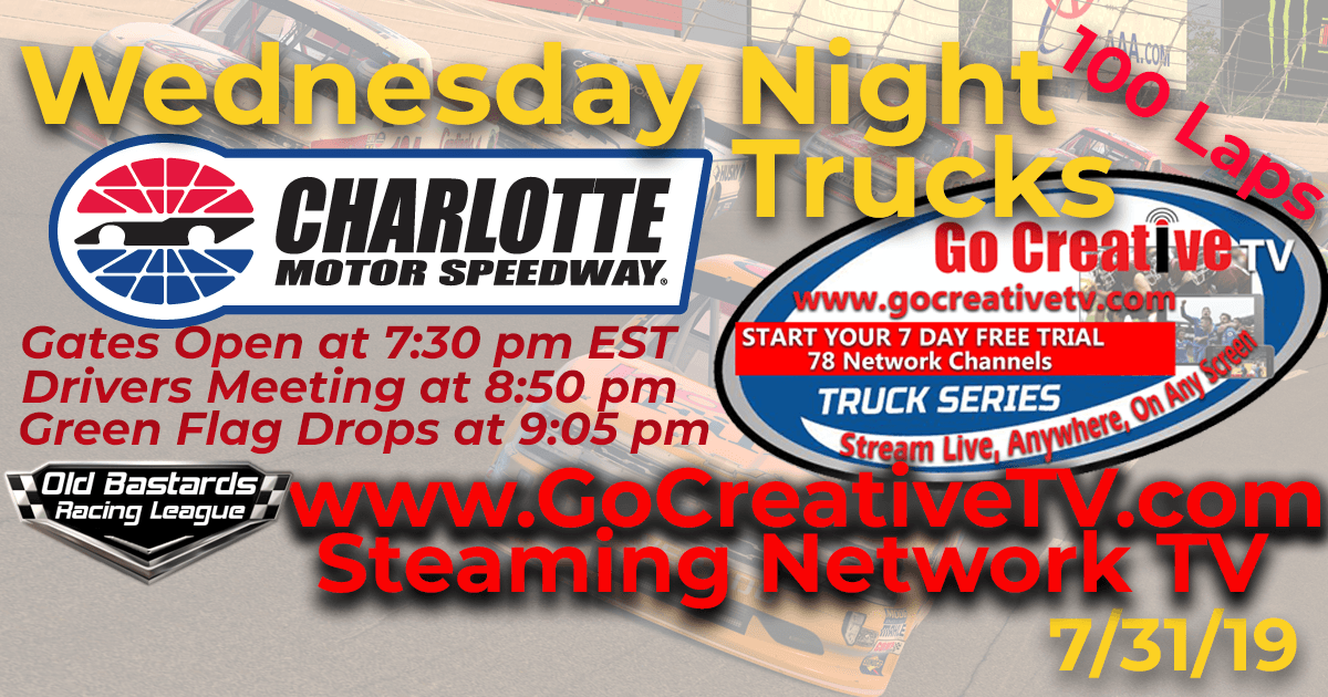 ABC Nascar Go Creative Streaming TV Truck Series Race at Charlotte Motor Speedway