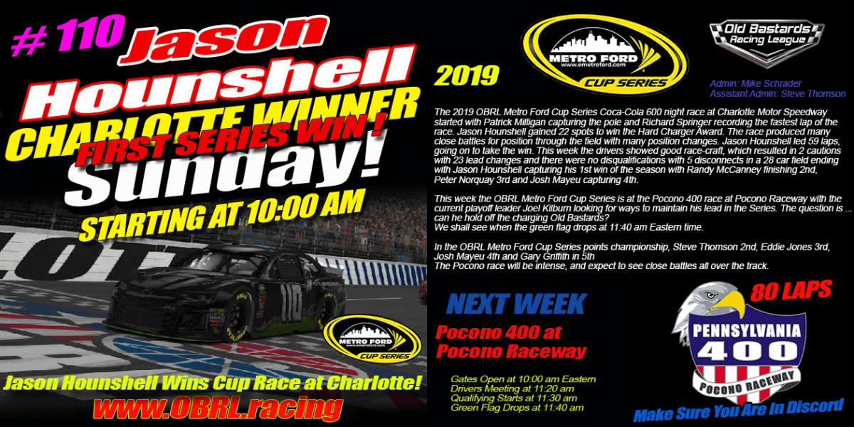 Jason Hounshell Wins Nascar Senior Tour Metro Ford Cup Race at Charlotte Motor Speedway