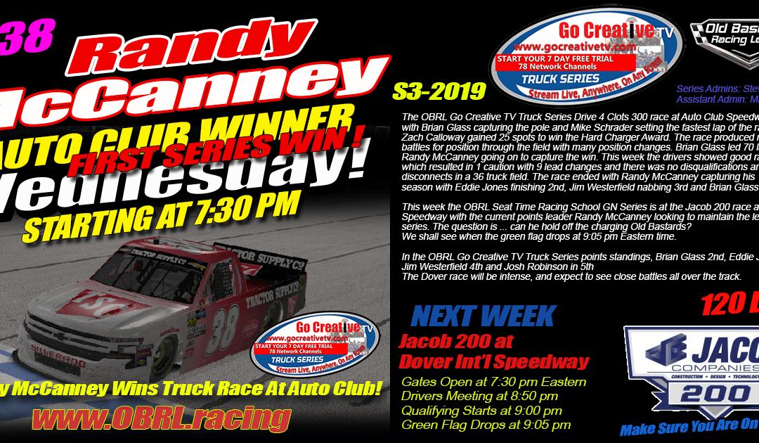 🏁Randy McCanney #38 Wins Go Creative TV Truck Race at Auto Club Speedway!
