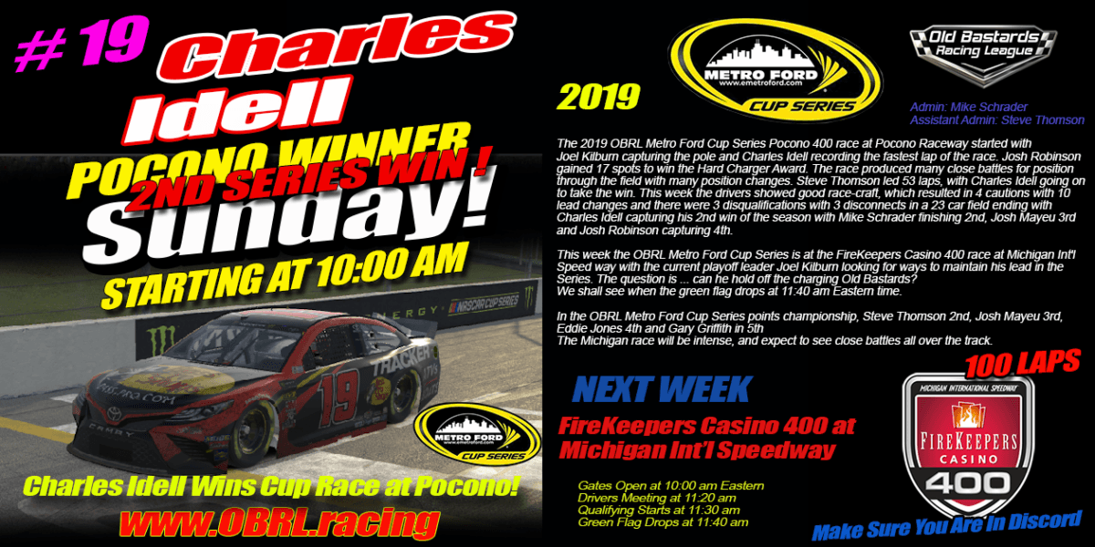 Charles Idell #19 Wins Nascar Senior Tour Metro Ford Cup Race at Pocono Raceway!