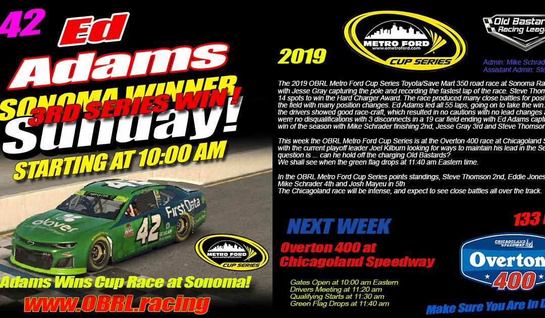 "🏁Ed ""Larson"" Adams #42 Dominates Win at Nascar Metro Ford Cup Race at Sonoma Raceway!"