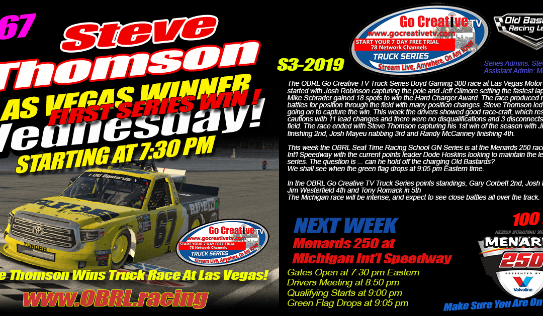 🏁Steve Thomson #67 RideTV / Hemp Shack Tundra Wins Go Creative Truck Race at Las Vegas!