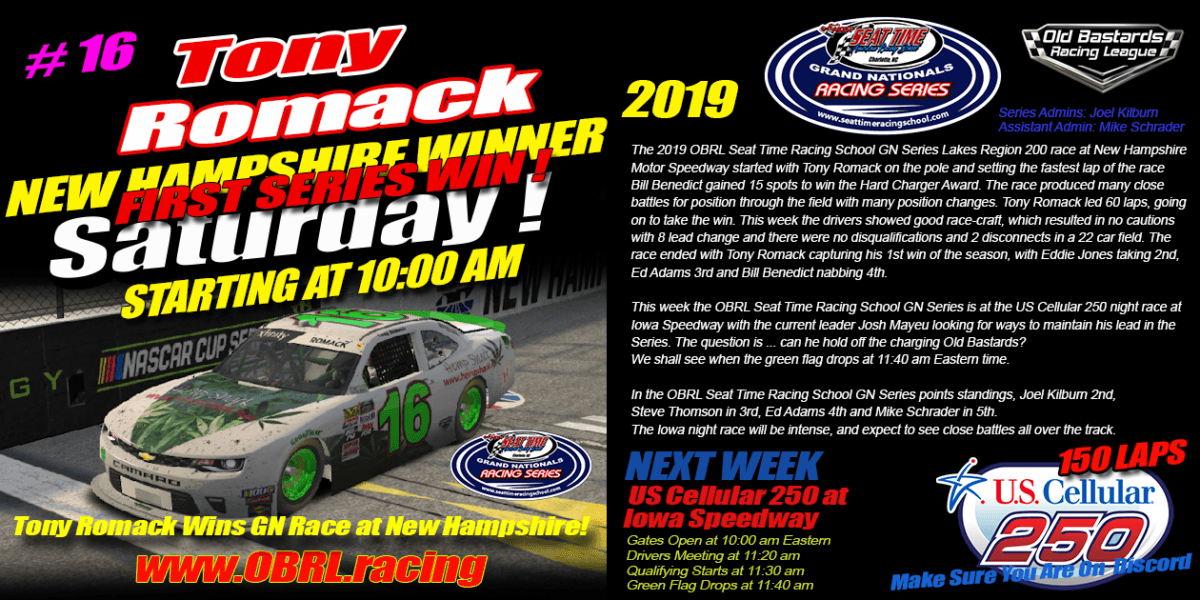 Tony Romack #16 Wins Seat Time Racing School Xfinity Grand National Race at New Hampshire