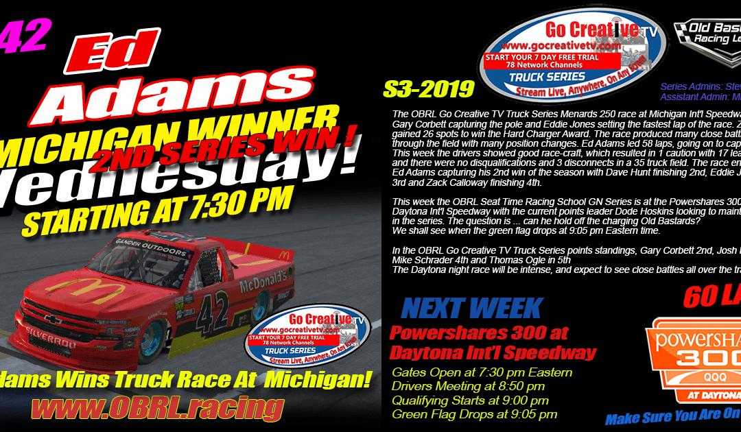 "🏁Ed ""Larson"" Adams #42 Wins Go Creative Internet Service Provider Truck Race at Michigan!"