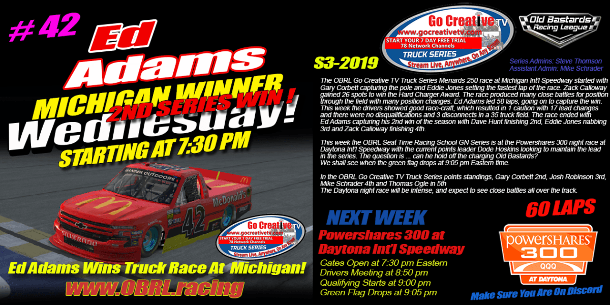 "d ""Larson"" Adams #42 Wins Go Creative Internet Service Provider Truck Race at Michigan"