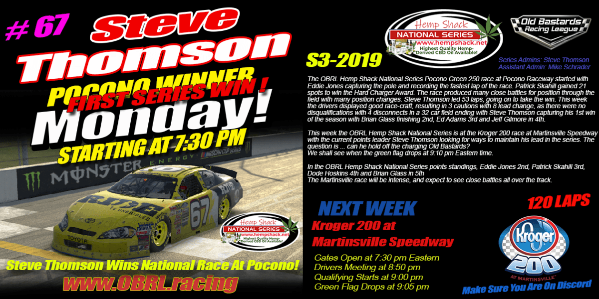 Steve Thomson #67 Wins K&N Pro Hemp Shack CBD Oil National Series at Pocono Raceway!