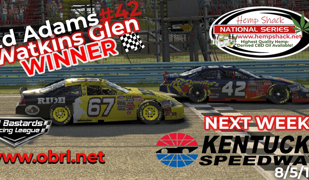 🏁Ed Larson Adams #42 Wins Nascar K&N Pro Hemp Shack CBD Oil Nationals at Watkins Glen!