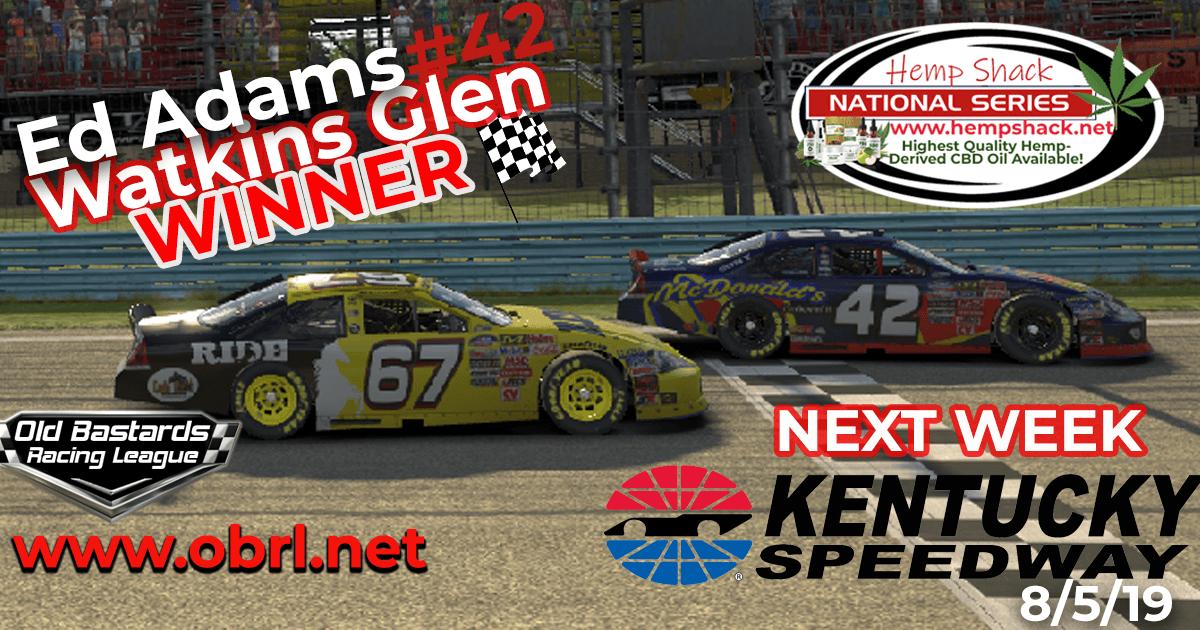 Ed Larson Adams #42 Wins Nascar K&N Pro Hemp Shack CBD Oil Nationals at Watkins Glen!