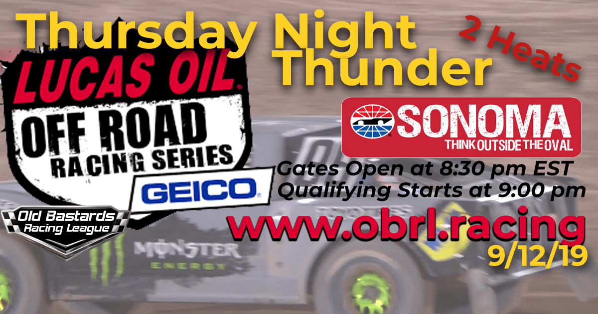 Lucas Oil Off Road Truck Series Race at Sonoma Raceway - 9/12/19