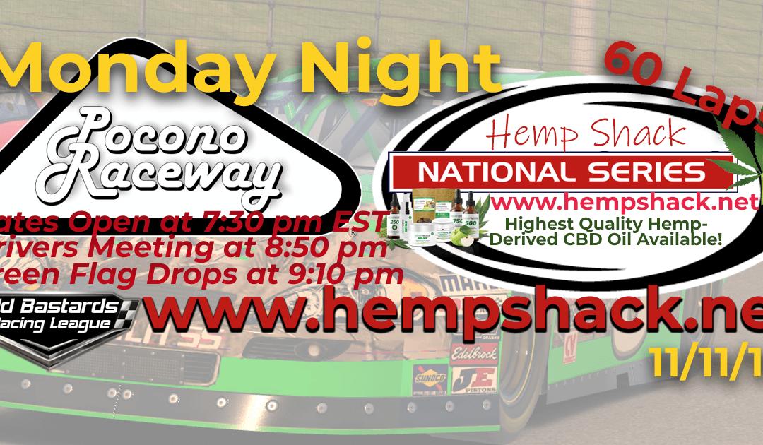 🏁WINNER: Steve Thomson #67! Week #10 Hemp Shack CBD Oil National Series Race at Pocono Raceway – 11/11/19 Monday Nights