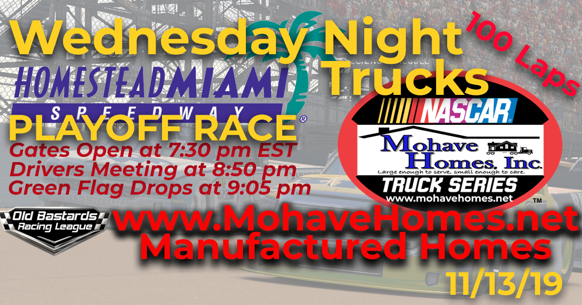 Week #10 Cavco Durango Mohave Homes Truck Series Race at Homestead Miami Speedway - 11/13/19