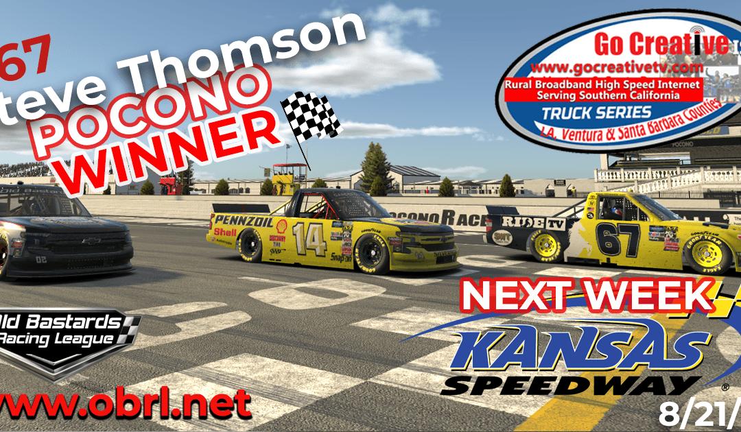 🏁Steve Thomson #67 Ride TV Tundra Wins Nascar Go Creative ISP Truck Race at Pocono Raceway!